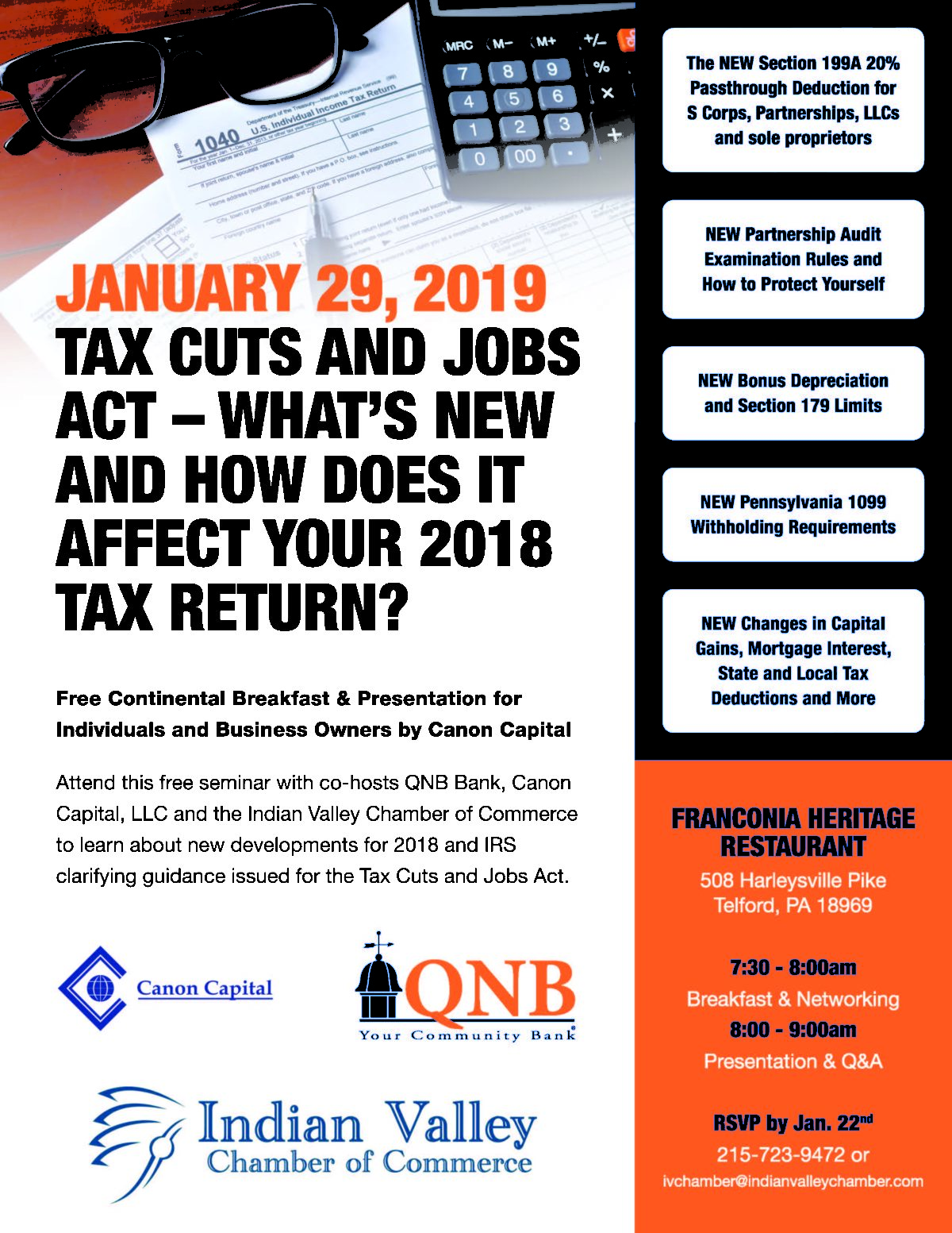 Join us January 29 for a Free Seminar – The Tax Cuts and Jobs Act: What's New?