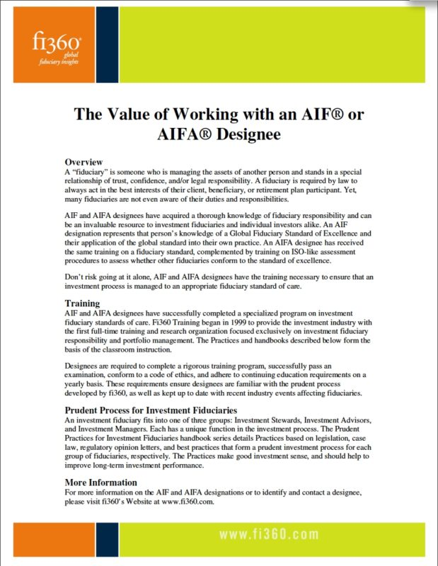 The Value of Working with an AIF® or AIFA® Designee