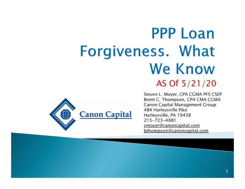 """PPP Loan Forgiveness – What We Know as of 5/21/20"" Seminar Recording"