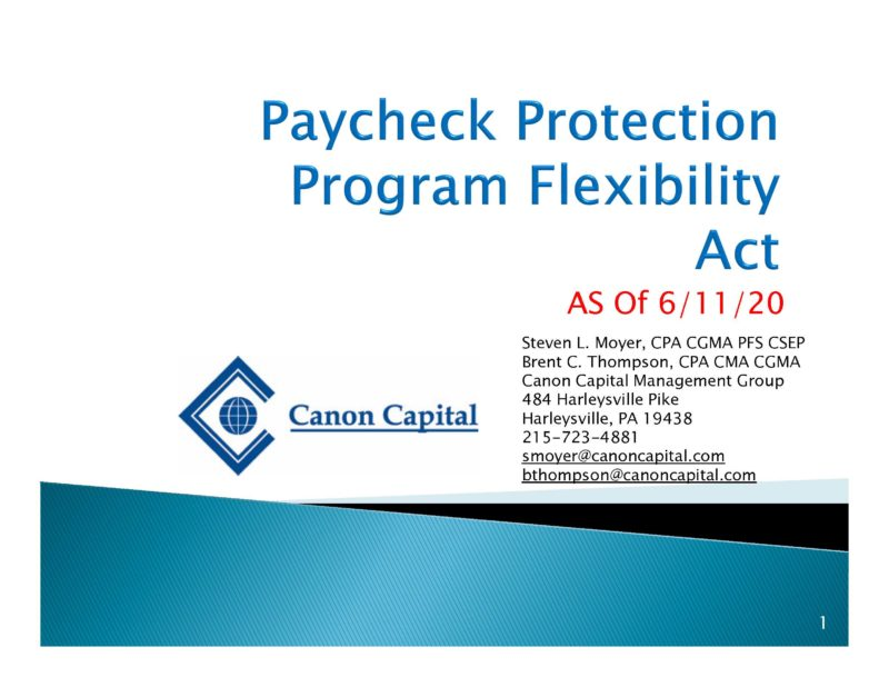 """Paycheck Protection Program Flexibility Act – What We Know as of 6/11/20"" – Seminar Recording"